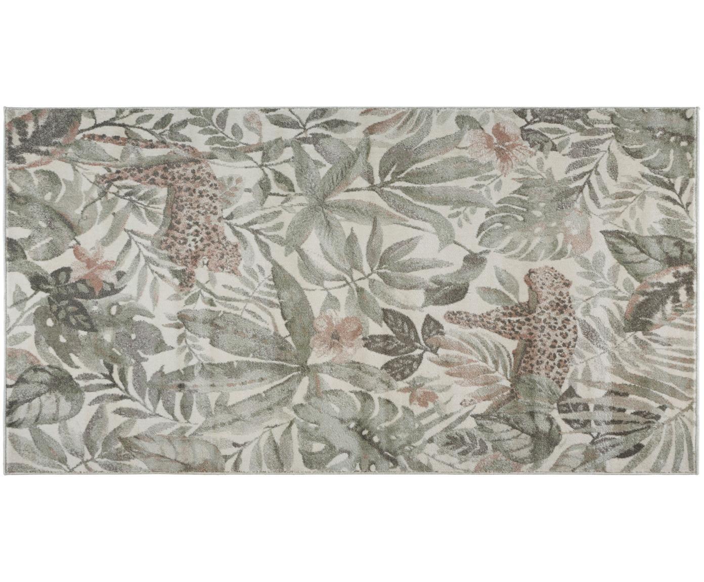 Teppich Sambre mit tropischem Print, 100% Polypropylen, Grün, Kupferbraun, Beige, B 80 x L 150 cm (Grösse XS)