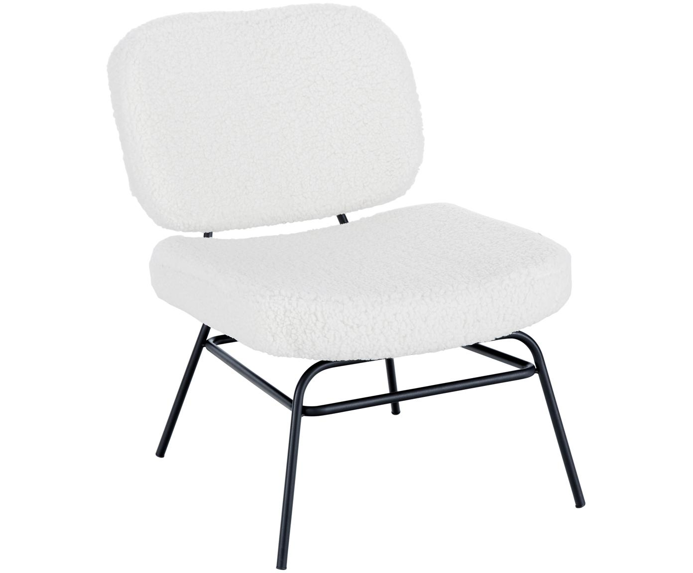 Krzesło tapicerowane Teddy Malte, Tapicerka: poliester (futro Teddy) 2, Nogi: metal malowany proszkowo, Tapicerka: kremowobiały Nogi: czarny matowy, S 58 x G 71 cm