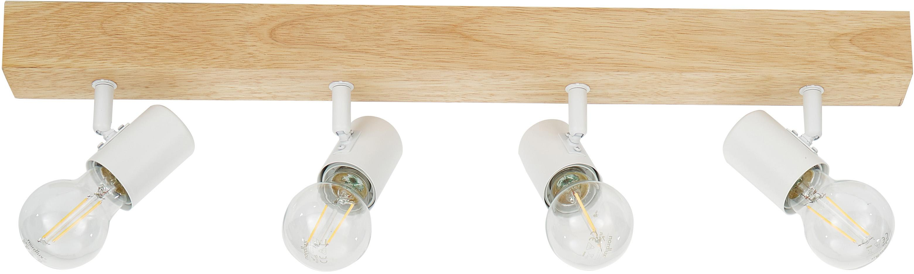 Faretti da soffitto Townshend, Acciaio rivestito, legno, Bianco, legno, Larg. 63 x Alt. 13 cm