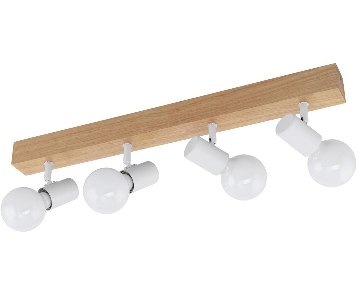 Lampa sufitowa Townshend, Biały, drewno naturalne, S 63 x D 13 cm
