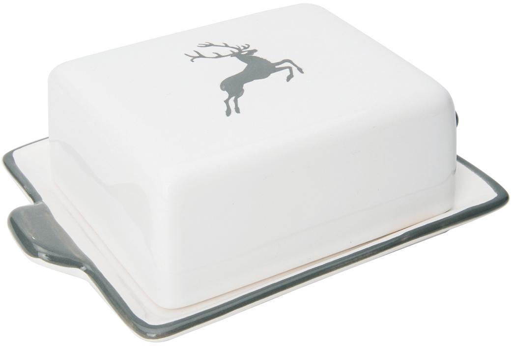 Handbeschilderd  boterschaaltje Grey Deer, Keramiek, Grijs, wit, 9 x 5 cm