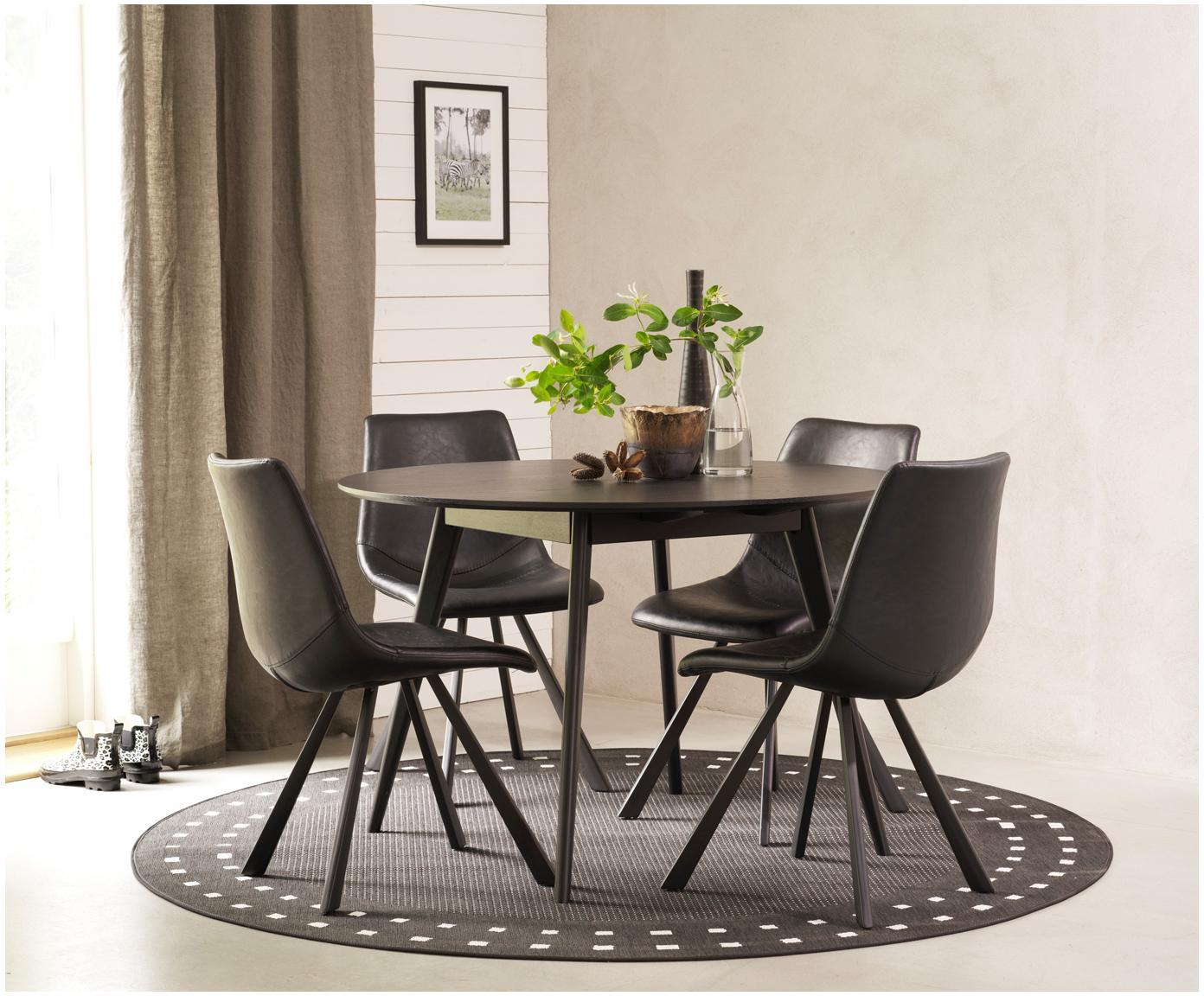 Okrągły stół do jadalni z drewna Yumi, Blat: płyta pilśniowa średniej , Nogi: drewno kauczukowe, masywn, Czarny, Średnica: 115 cm