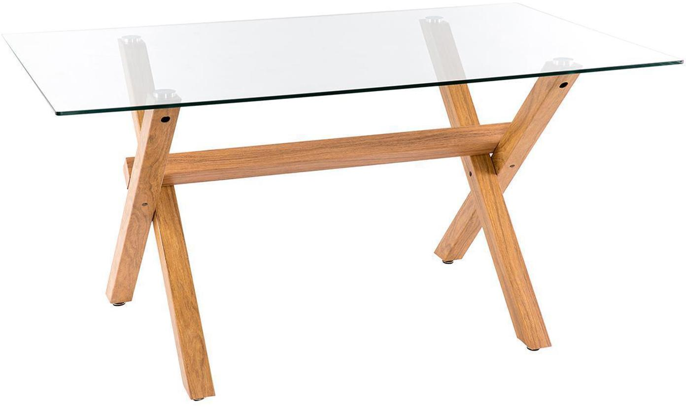 Mesa de comedor Marie, tablero de cristal, Patas: hierro, Tablero: cristal templado, Natural, An 160 x F 90 cm