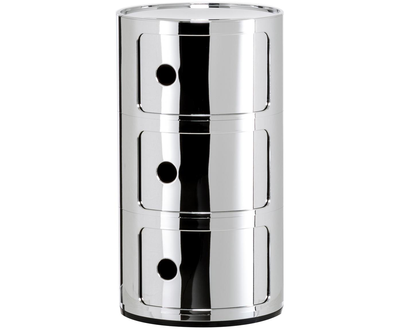 Comodino di design con cassetti Componibile, Materiale sintetico, rivestito in metallo, Cromo, Ø 32 x Alt. 59 cm