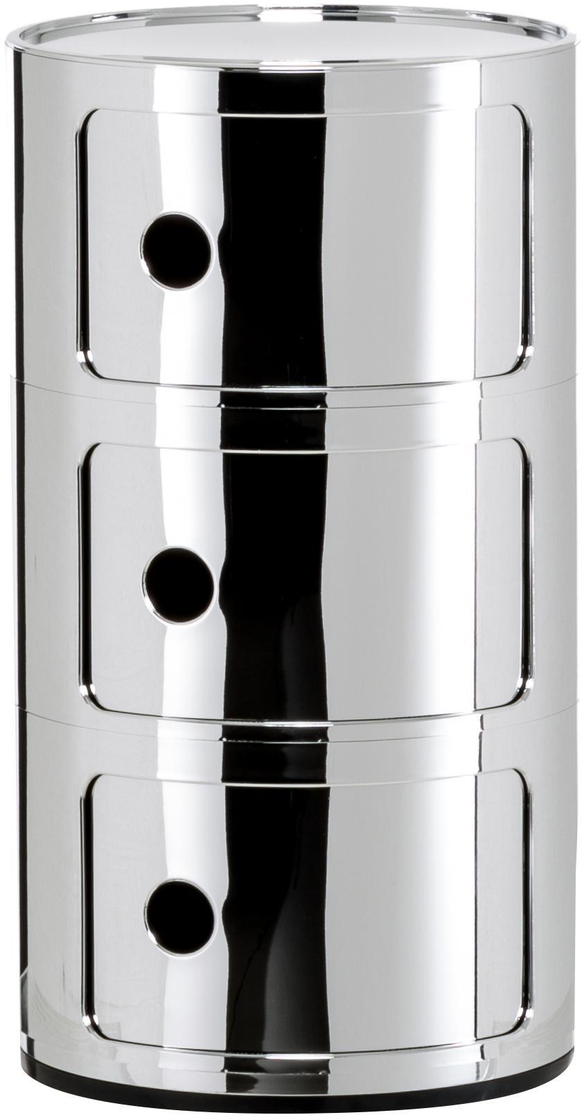 Bijzettafel Componibile, Metallic gecoat kunststof, Chroomkleurig, Ø 32 x H 59 cm