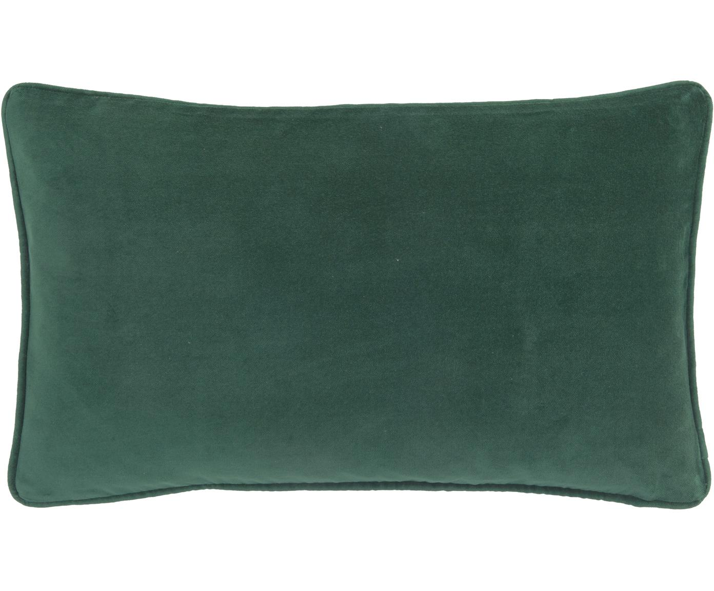 Effen fluwelen kussenhoes Dana in smaragdgroen, Katoenfluweel, Smaragdgroen, 30 x 50 cm