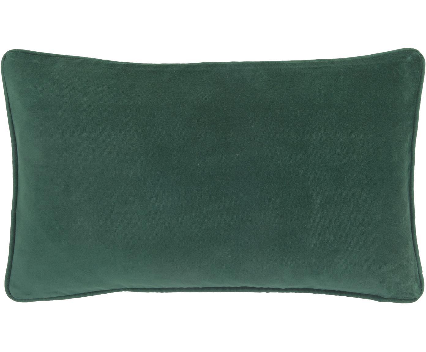 Federa arredo in velluto in verde smeraldo Dana, Velluto di cotone, Verde smeraldo, Larg. 30 x Lung. 50 cm