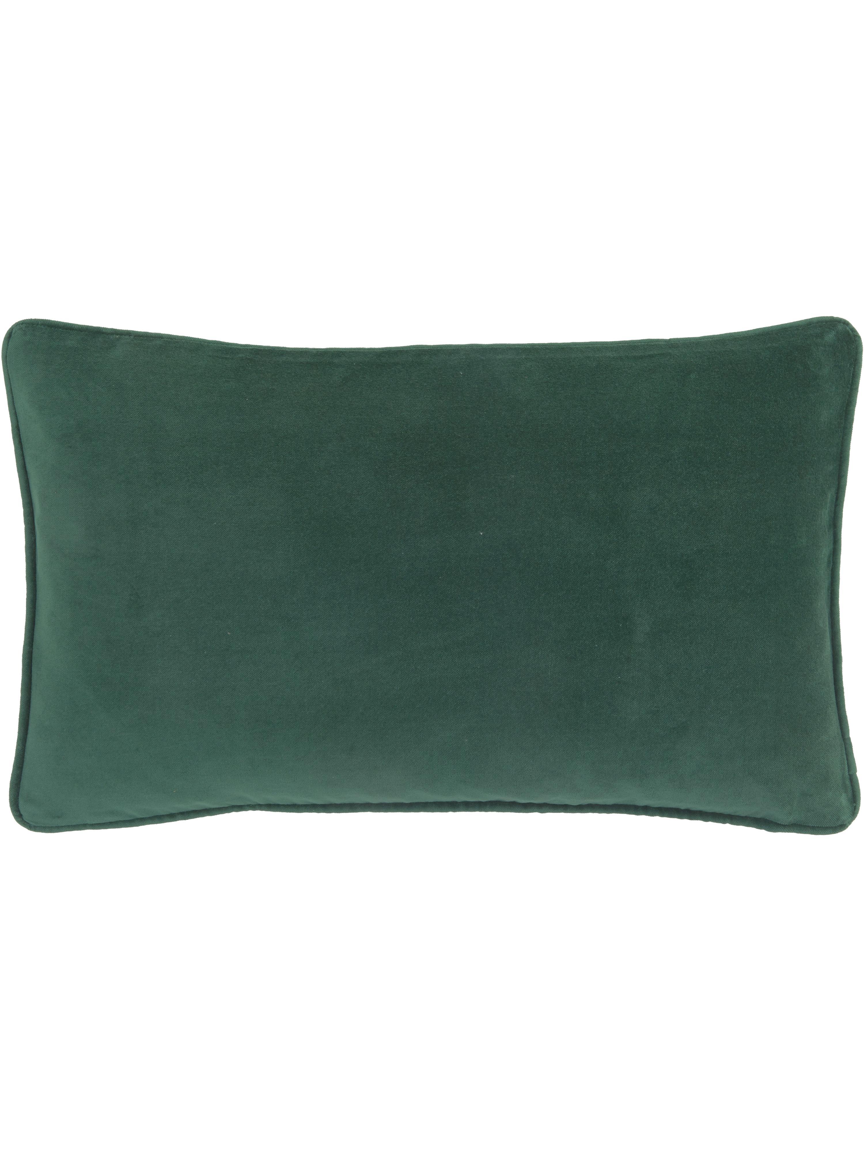 Funda de cojín de terciopelo Dana, 100%terciopelo, Verde esmeralda, An 30 x L 50 cm