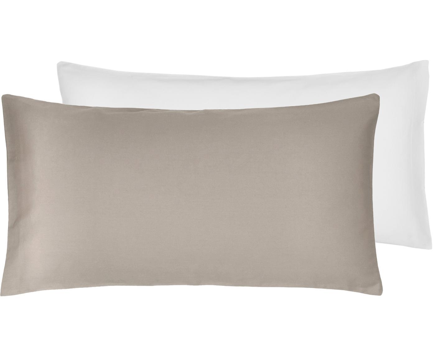 Dwustronna poszewka na poduszkę z satyny bawełnianej Julia, 2 szt., Biały, taupe, S 40 x D 80 cm