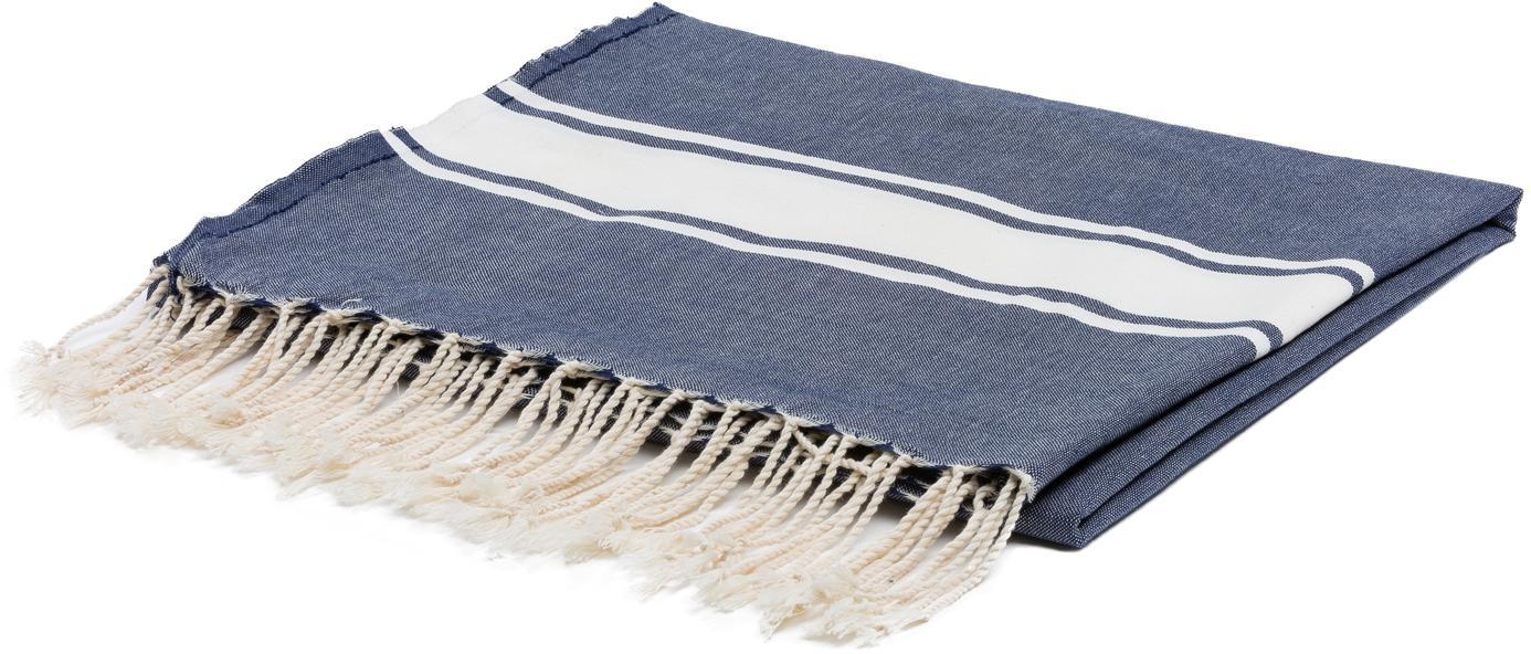 Tischdecke St. Tropez, Baumwolle, Denimblau, Weiß, Für 6 - 8 Personen (B 150 x L 250 cm)