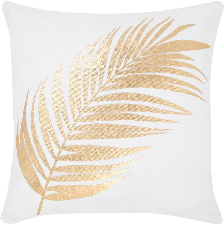 Federa arredo con stampa dorata Light, Cotone, Bianco, dorato, Larg. 40 x Lung. 40 cm
