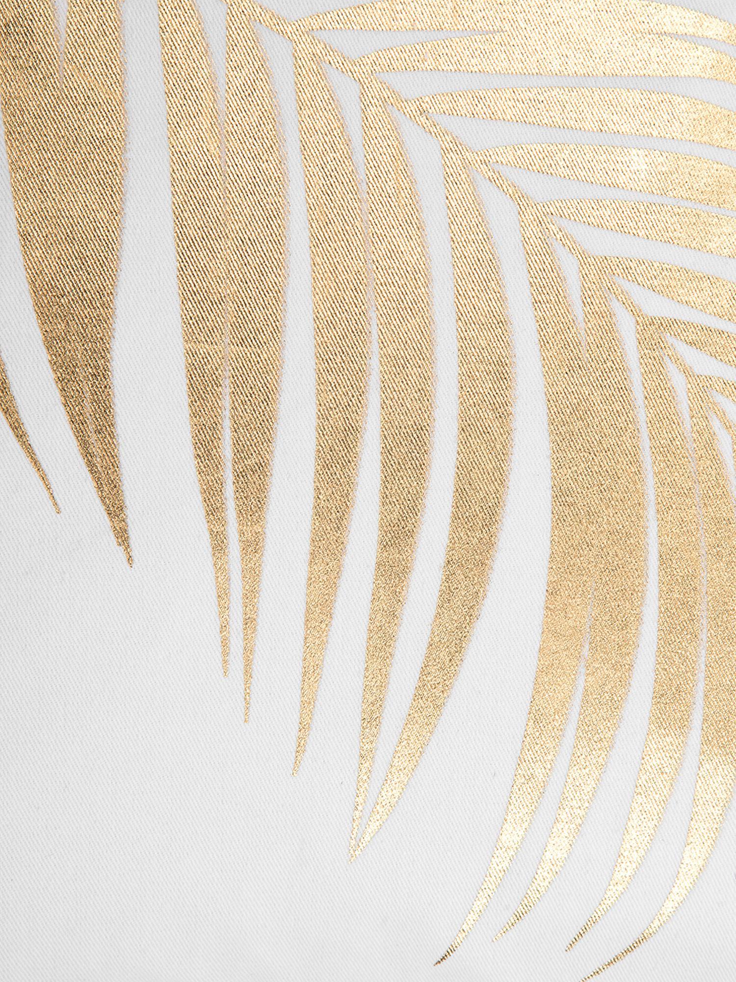 Weisse Kissenhülle Light mit goldenem Print, 100% Baumwolle, Weiss, Goldfarben, 40 x 40 cm