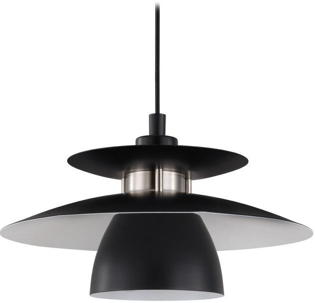 Lámpara de techo Brenda, Pantalla: metal pintado, Casquillo: metal, Anclaje: metal pintado, Cable: cubierto en tela, Negro, Ø 32 x Al 110 cm