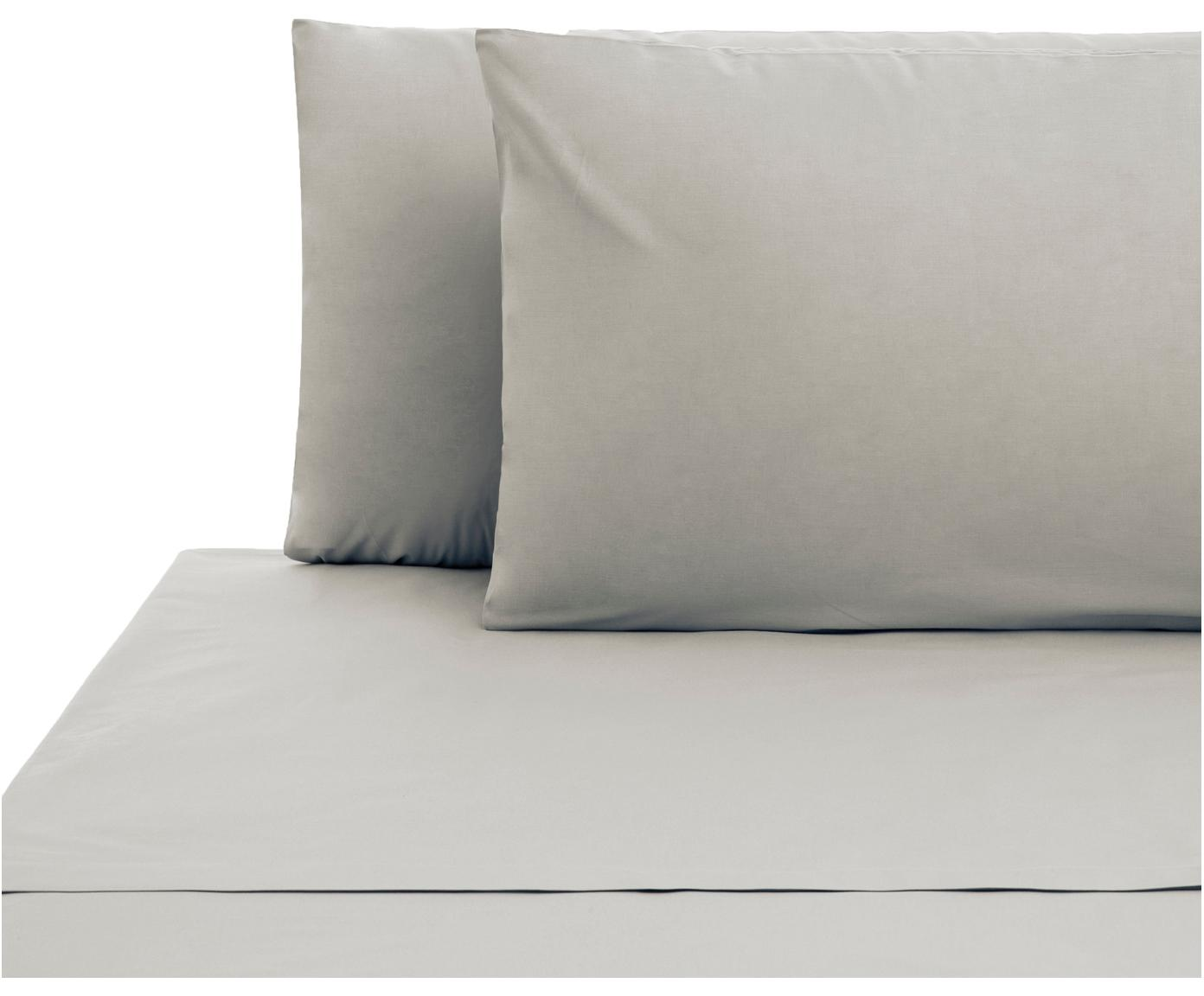 Set lenzuola in cotone ranforce Lenare 2 pz, Tessuto: Renforcé, Fronte e retro: grigio chiaro, 240 x 290 cm