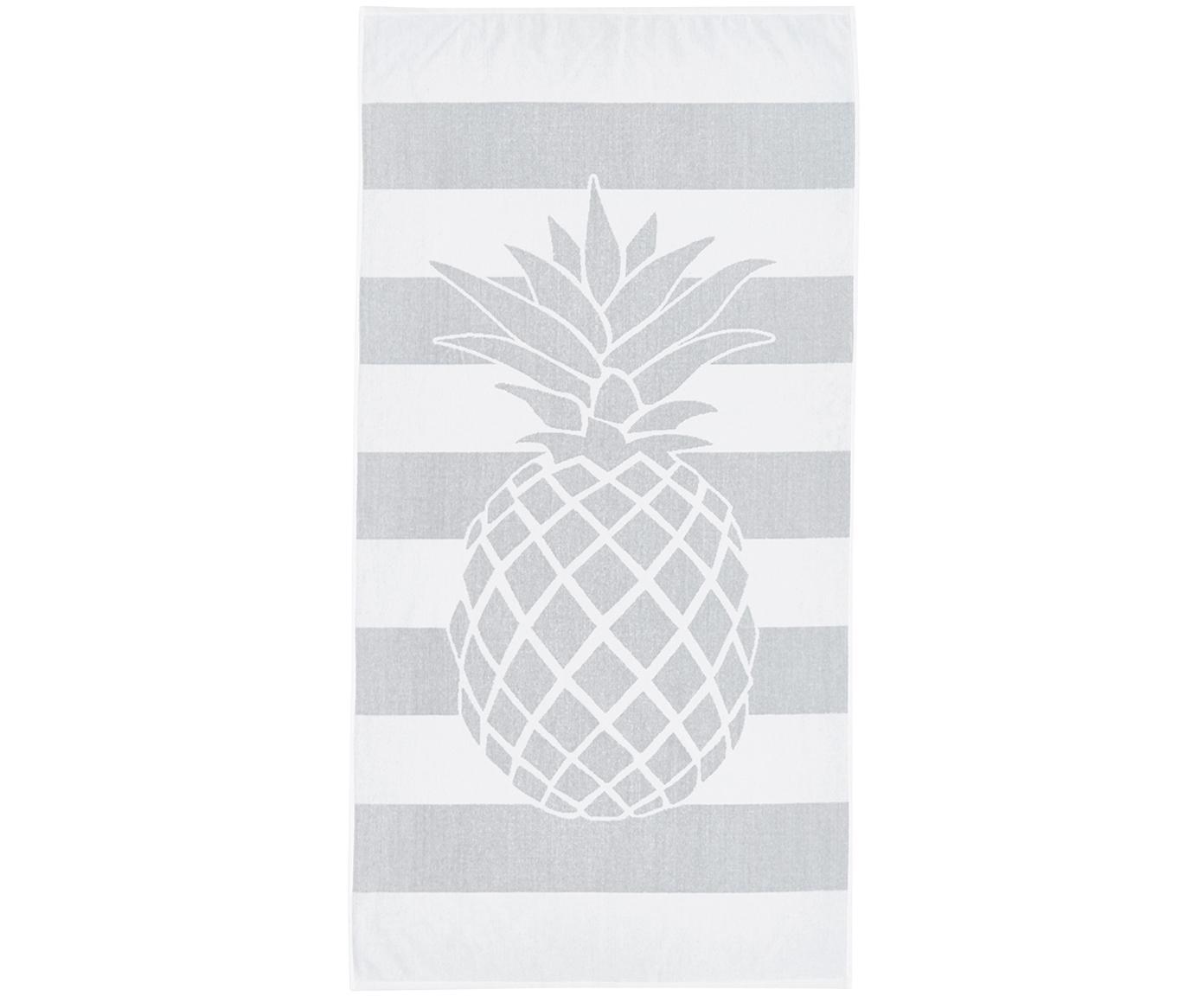 Gestreiftes Strandtuch Asan mit Ananas-Motiv, 100% Baumwolle leichte Qualität 380 g/m², Grau, Weiß, 80 x 160 cm