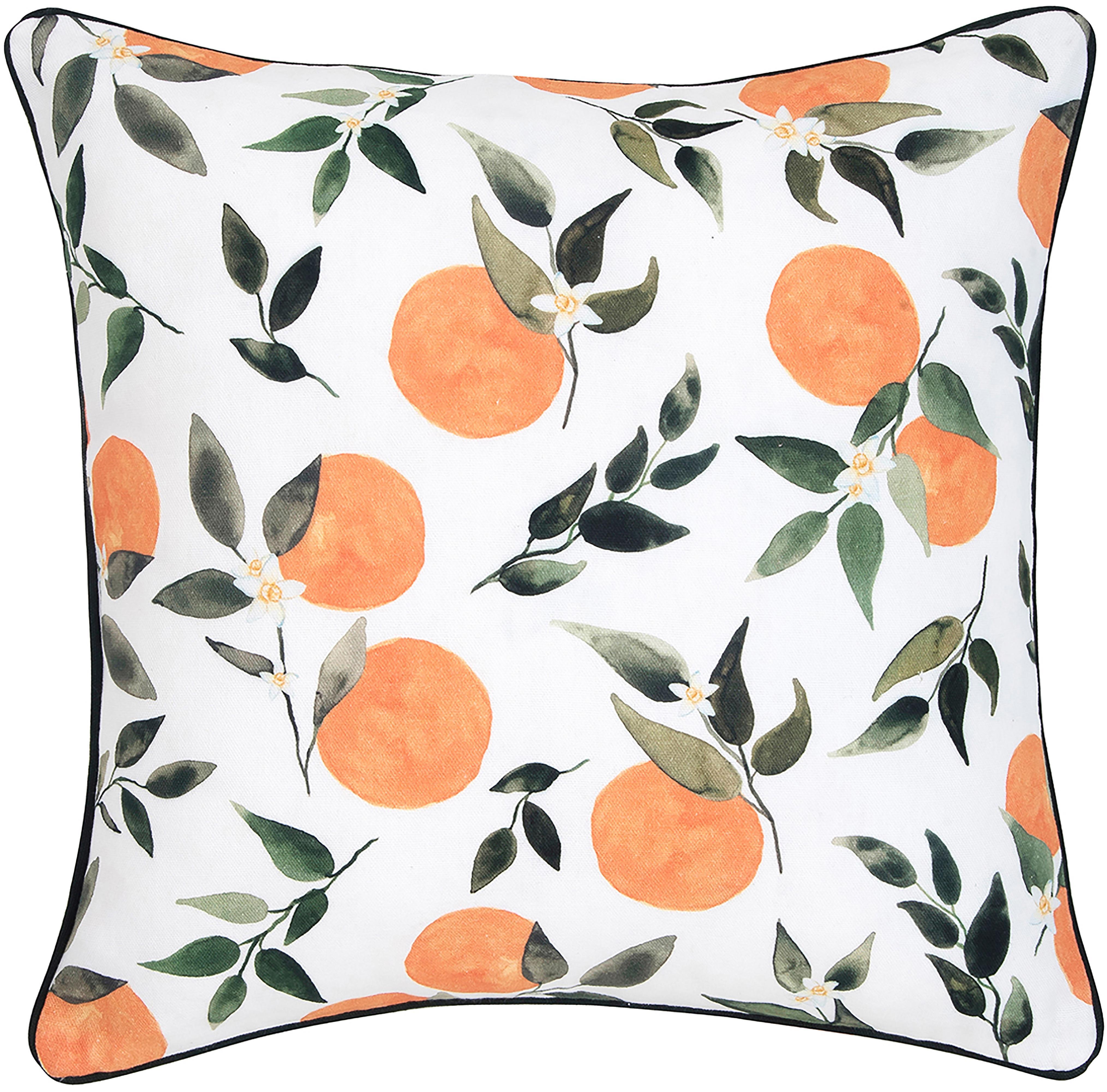 Poszewka na poduszkę Larangina, Bawełna, Biały, zielony, pomarańczowy Wykończenie brzegów: ciemny szary, S 40 x D 40 cm