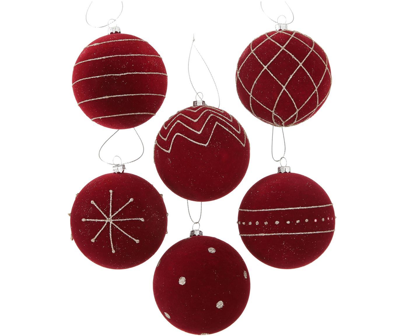 Kerstballenset Melitia, 6-delig, Rood, zilverkleurig, Ø 8 x H 8 cm