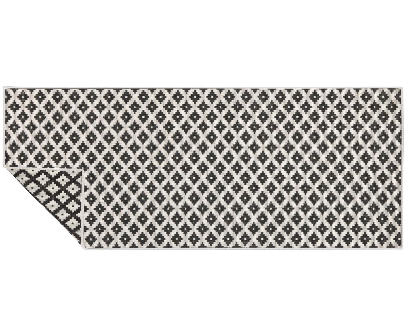 Dubbelzijdige in- & outdoor loper Nizza, Zwart, crèmekleurig, 80 x 250 cm