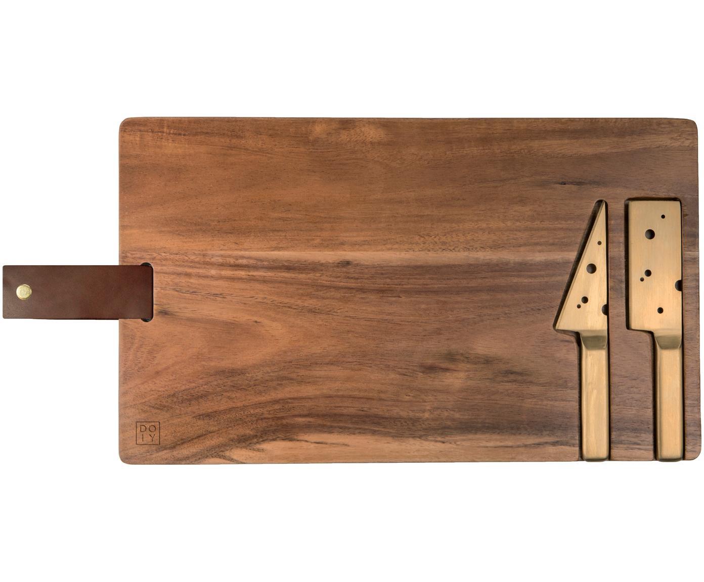 Käse-Schneidebrett King mit Käsemesser, 3-tlg., Messer: Edelstahl, beschichtet, Servierplatte: AkazienholzAufhängeschlaufe: BraunMesser: Goldfarben, B 37 x T 23 cm