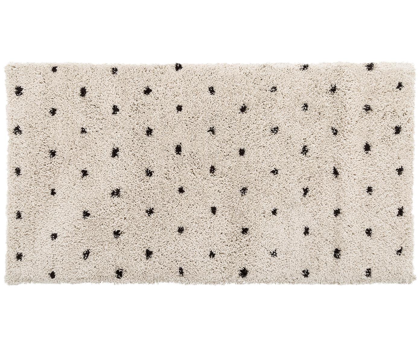 Alfombra artesanal Ayana, Parte superior: 100%poliéster, Reverso: 100%algodón, Beige, negro, An 80 x L 150 cm (Tamaño XS)