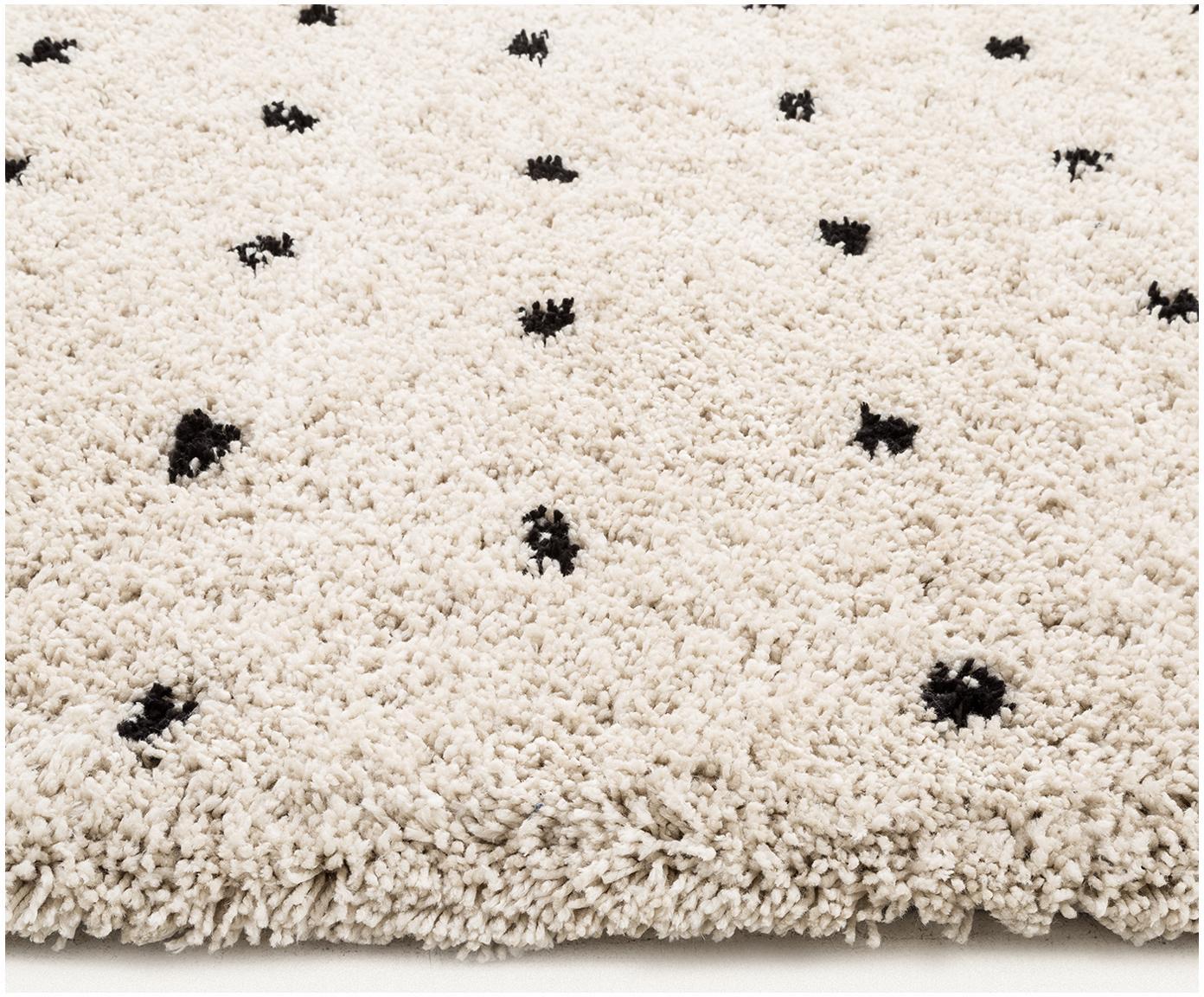 Handgetuft vloerkleed Ayana, Bovenzijde: 100% polyester, Onderzijde: 100% katoen, Beige, zwart, 120 x 180 cm