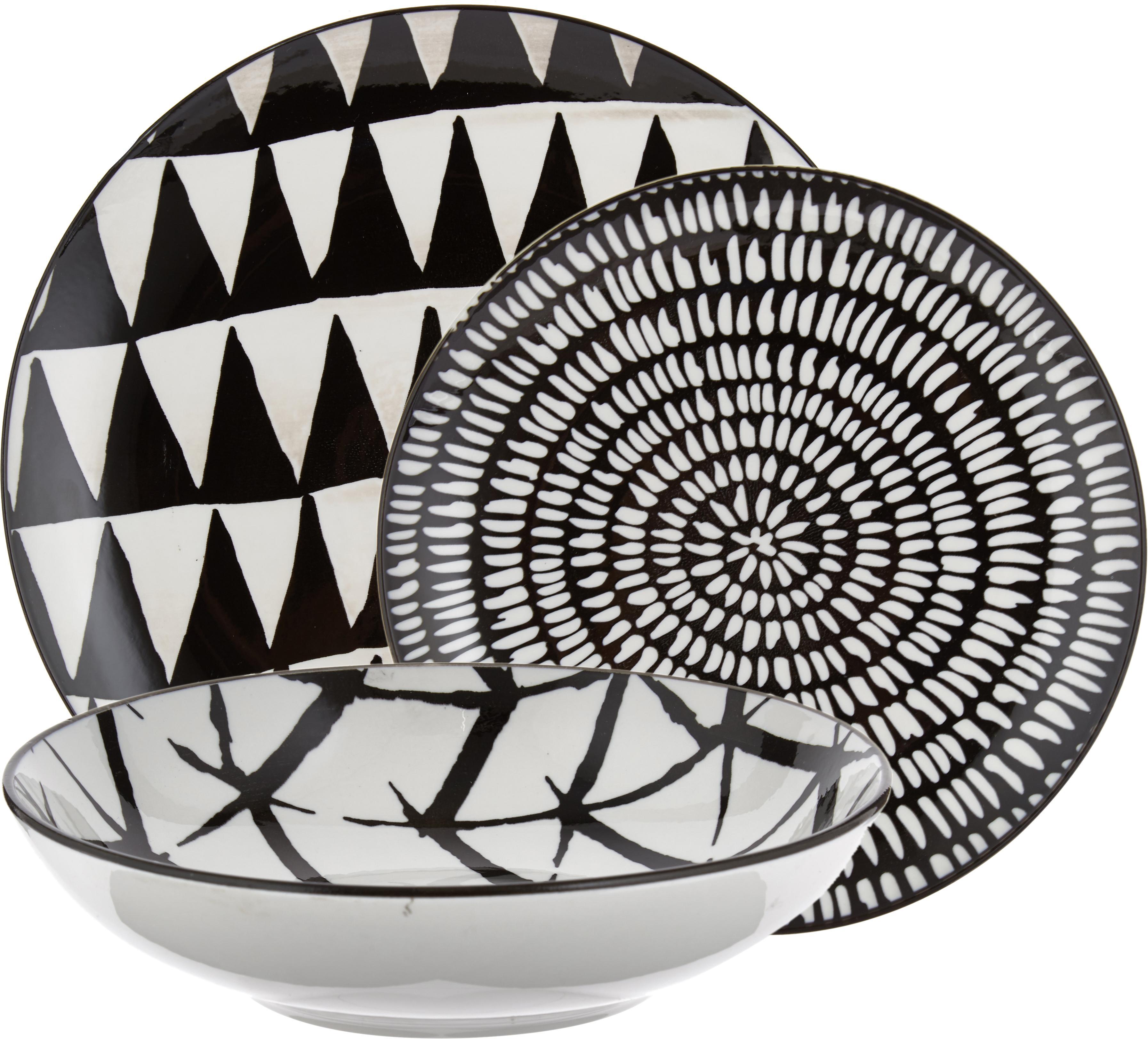 Vajilla Mokala, 6comensales (18pzas.), Porcelana, Negro, blanco, Set de diferentes tamaños