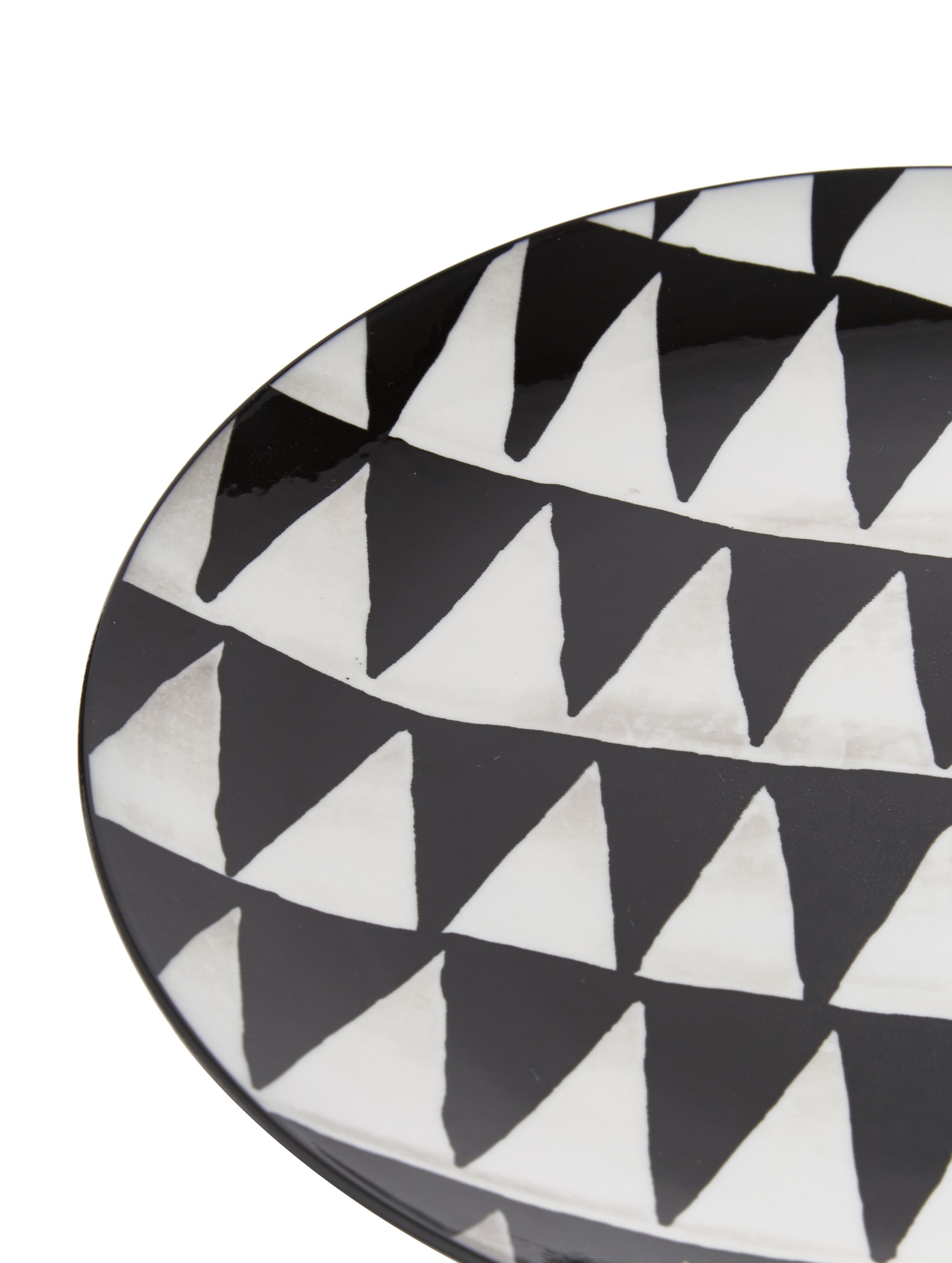 Komplet naczyń  Mokala, 18 elem., Porcelana, Czarny, biały, Komplet z różnymi rozmiarami