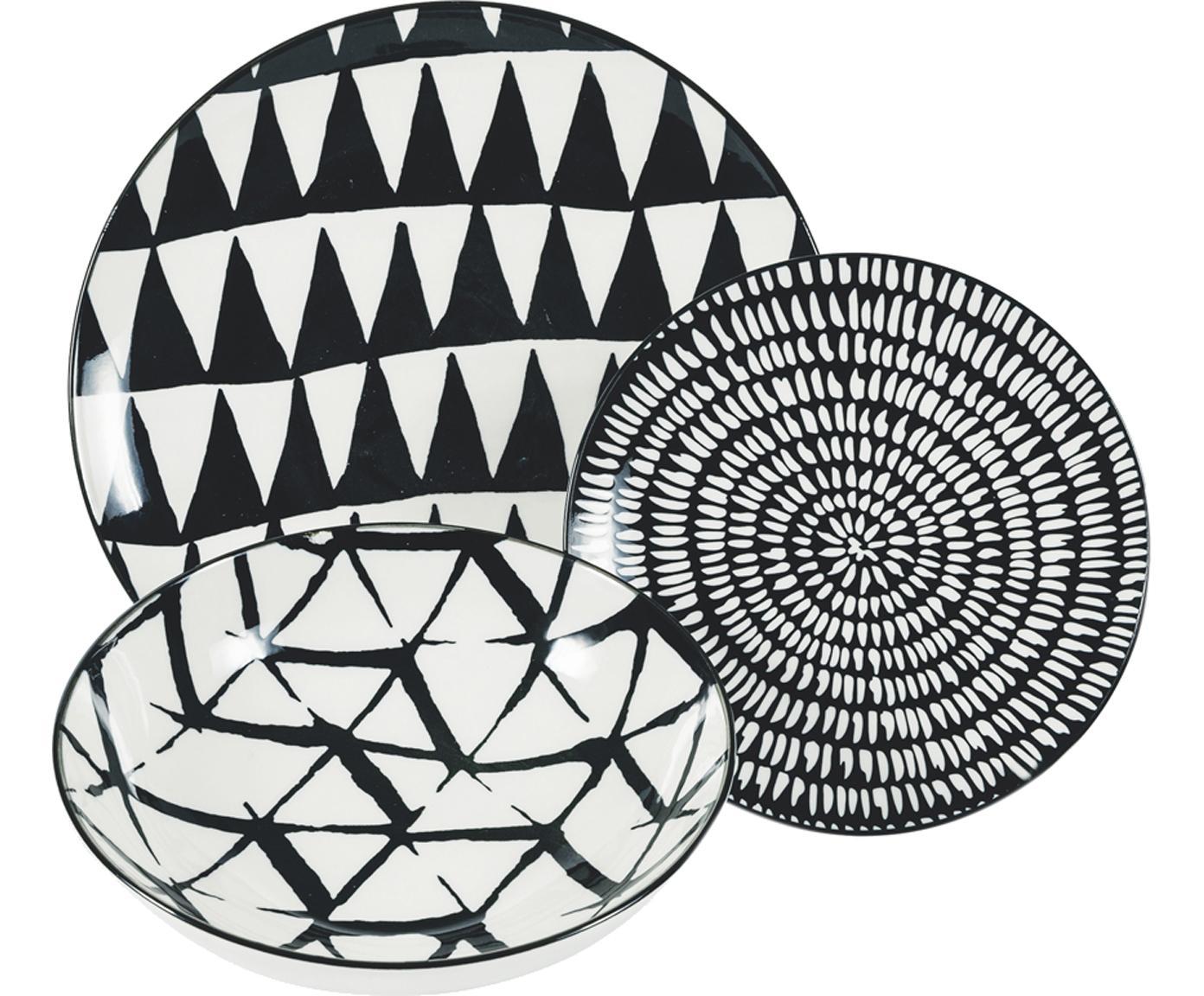 Set 18 piatti per 6 persone Mokala, Porcellana, Nero, bianco, Diverse dimensioni