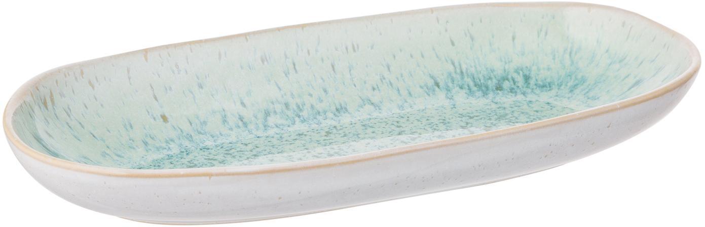 Handbemalte Servierplatte Areia mit reaktiver Glasur, Steingut, Mint, Gebrochenes Weiss, Beige, B 23 x T 12 cm