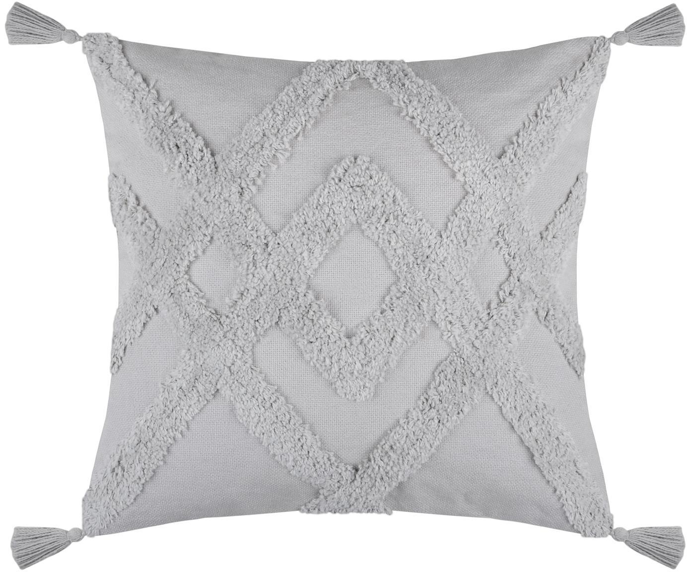 Boho Kissen Tiksi mit getufteten Verzierungen, mit Inlett, Bezug: Baumwolle, Grau, 40 x 40 cm