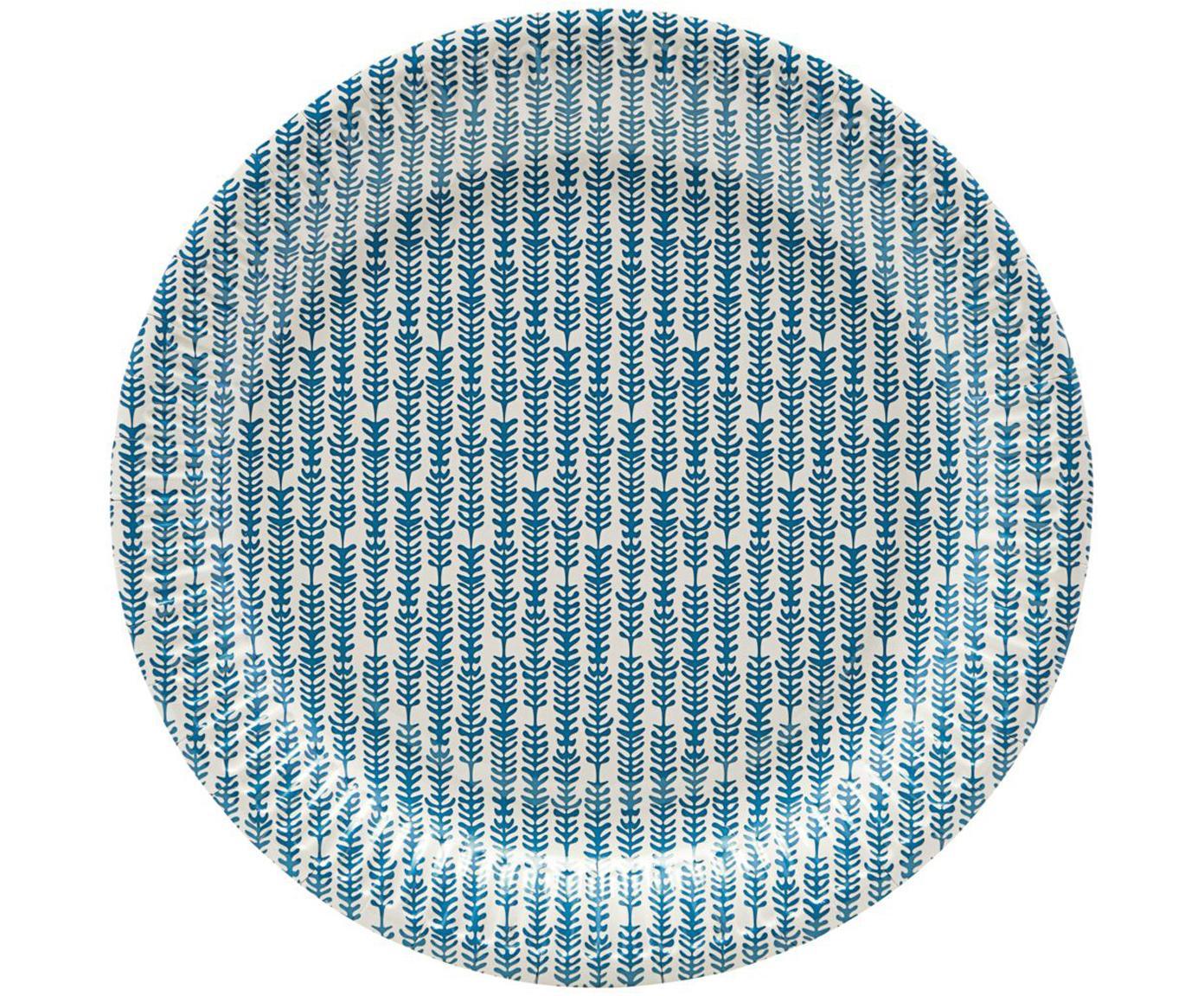 Papieren borden Branch, 12 stuks, Papier, Blauw, wit, Ø 23 x H 1 cm