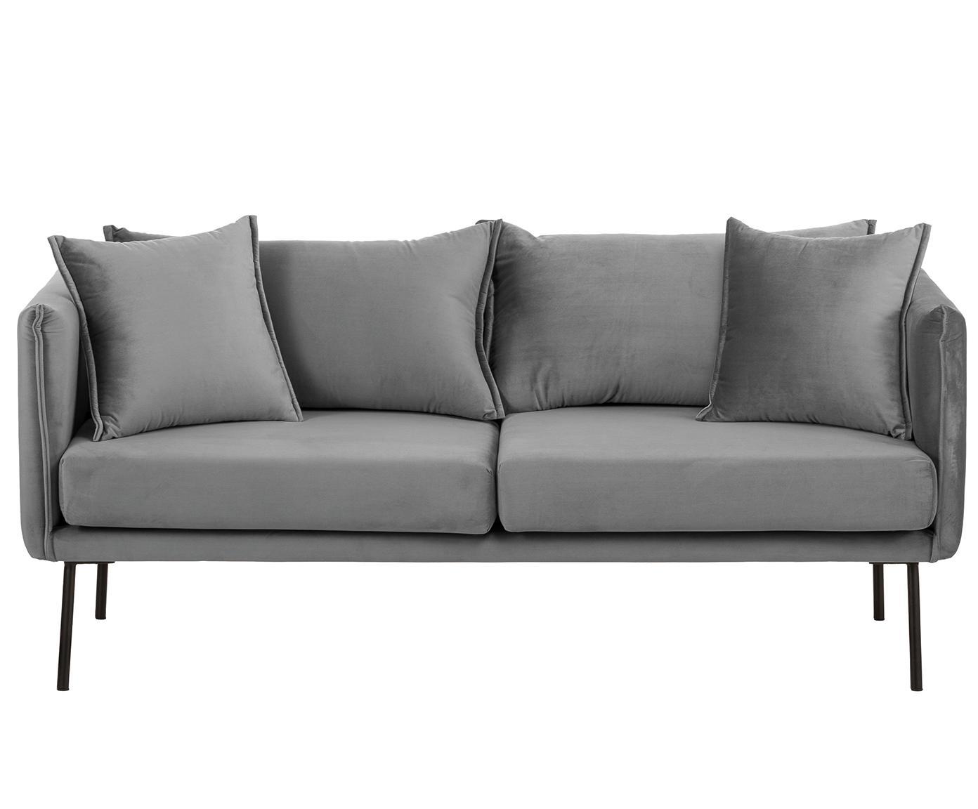 Samt-Sofa Ivy (2-Sitzer), Bezug: Samt (Polyester) 15.000 S, Gestell: Metall, Füße: Metall, pulverbeschichtet, Samt Grau, B 170 x T 75 cm