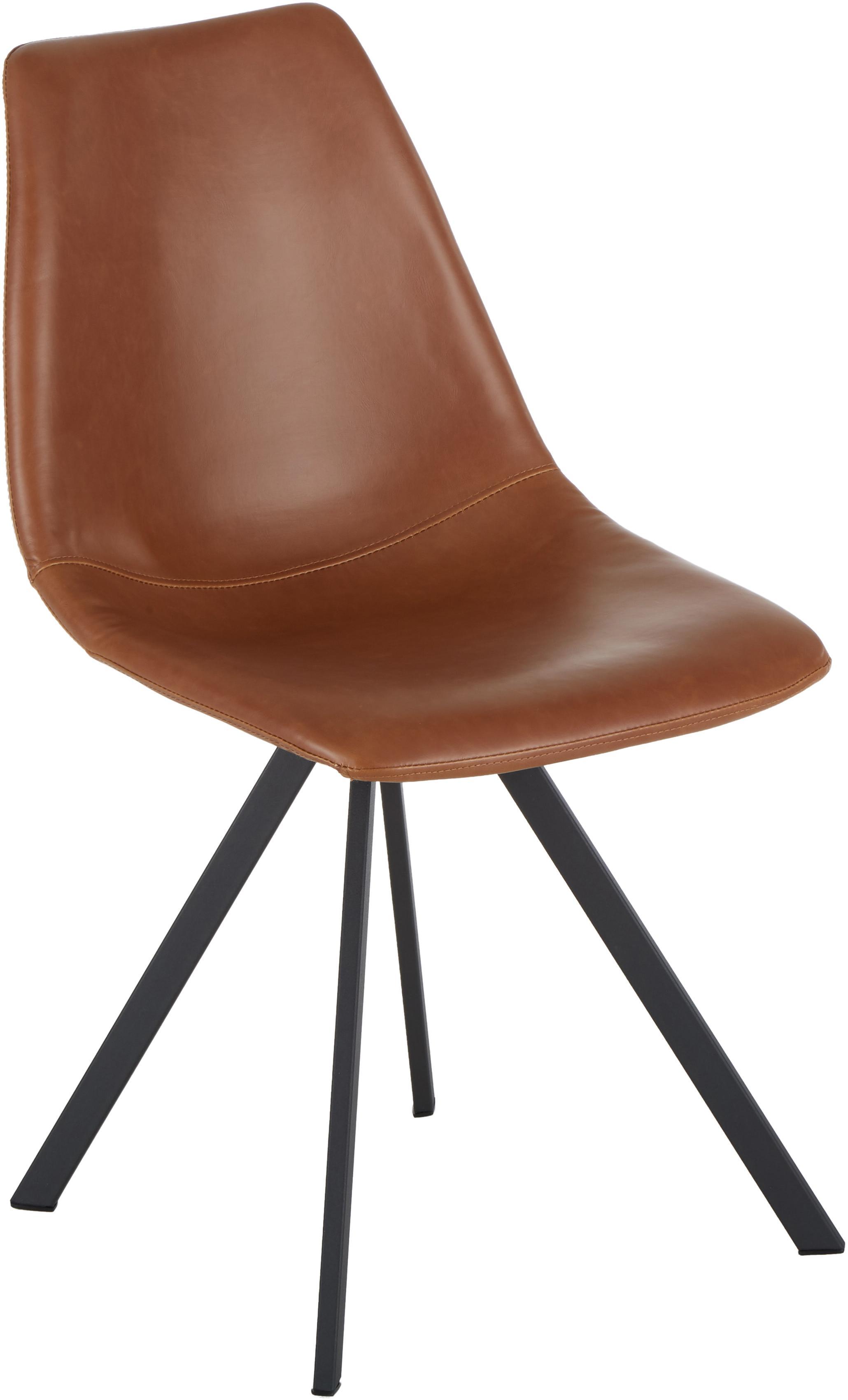 Kunstleren stoelen Billy, 2 stuks, Bekleding: kunstleer (polyurethaan), Poten: gepoedercoat metaal, Cognackleurig, B 46 x D 58 cm