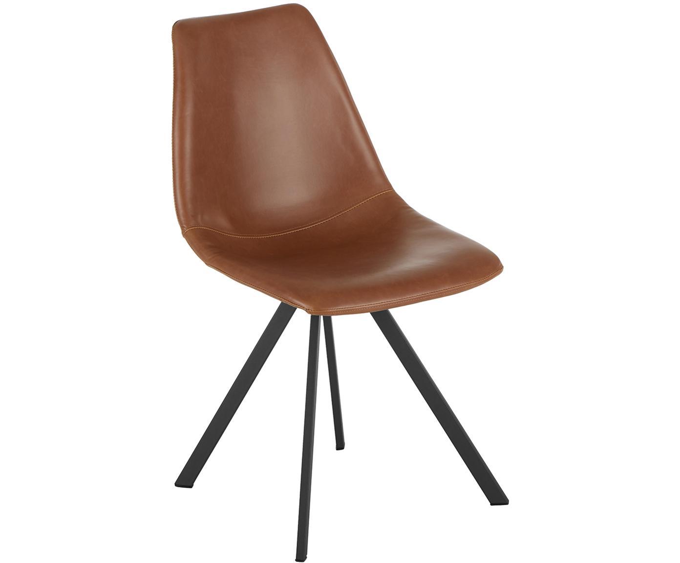 Krzesło tapicerowane ze sztucznej skóry Billy, 2 szt., Tapicerka: sztuczna skóra (poliureta, Nogi: metal malowany proszkowo, Koniakowy, S 46 x G 58 cm