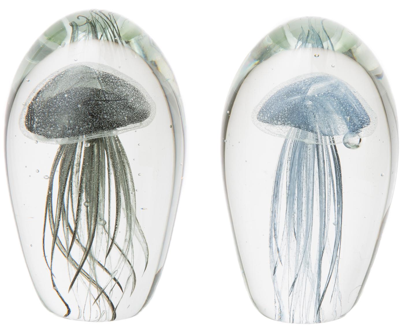 Deko-Objekt-Set Medusa, 2-tlg., Glas, durchgefärbt, Briefbeschwerer: TransparentQuallen: Graublau, Schwarz, Ø 8 x H 12 cm