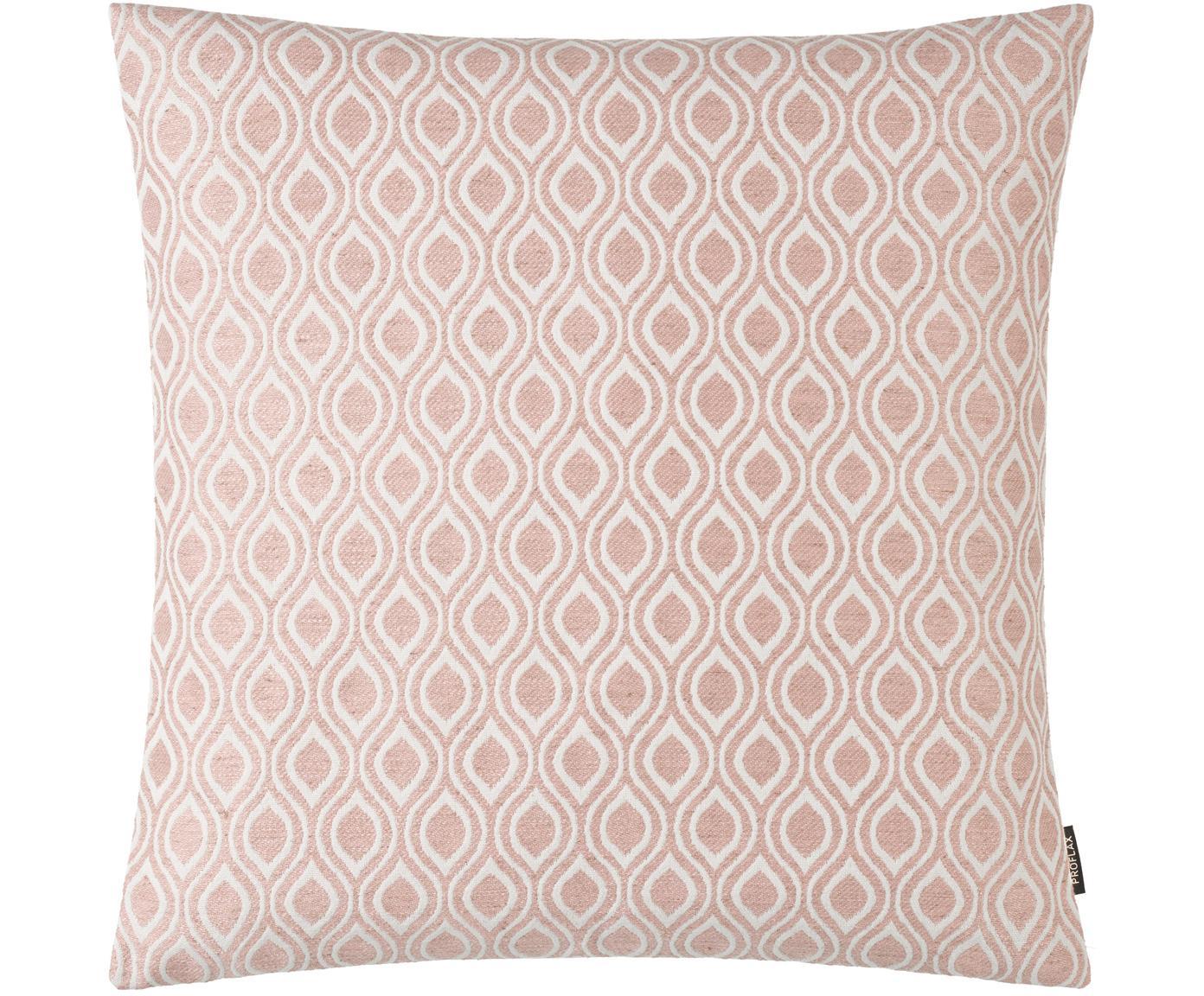 Kussenhoes Peppino met roze en wit patroon, 51%viscose, 25%polyester, 15%linnen, 9%katoen, Roze, crèmekleurig, 40 x 40 cm