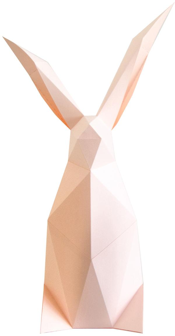 Tafellamp Rabbit, bouwpakket van papier, Lampenkap: papier, 160 g/m², Fitting: MDF, kunststof, Roze, 18 x 34 cm
