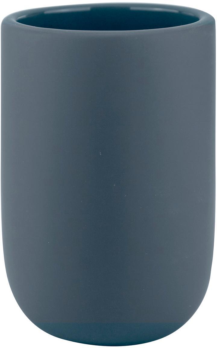 Porta spazzolini in ceramica Lotus, Ceramica, Blu, Ø 7 x Alt. 10 cm