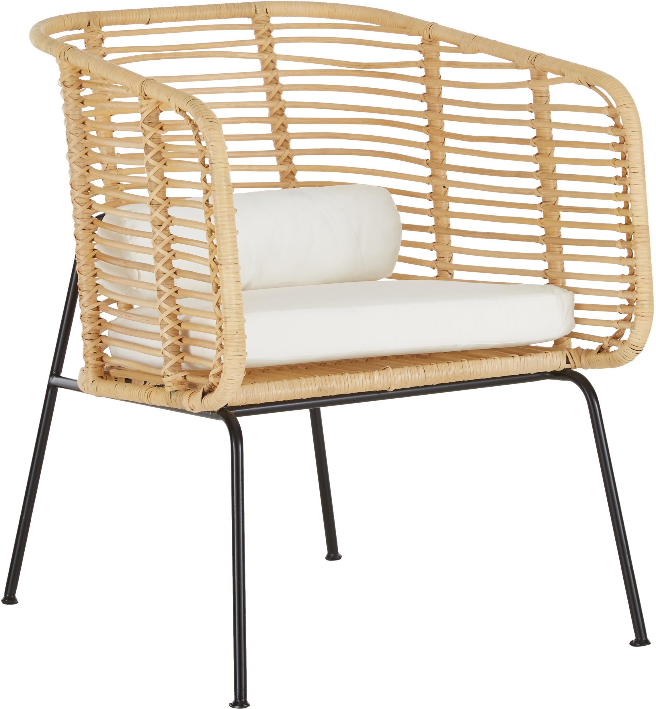 Sillón de ratán Merete, Asiento: ratán, Estructura: metal, recubierto en polv, Beige, blanco, An 72 x F 74 cm
