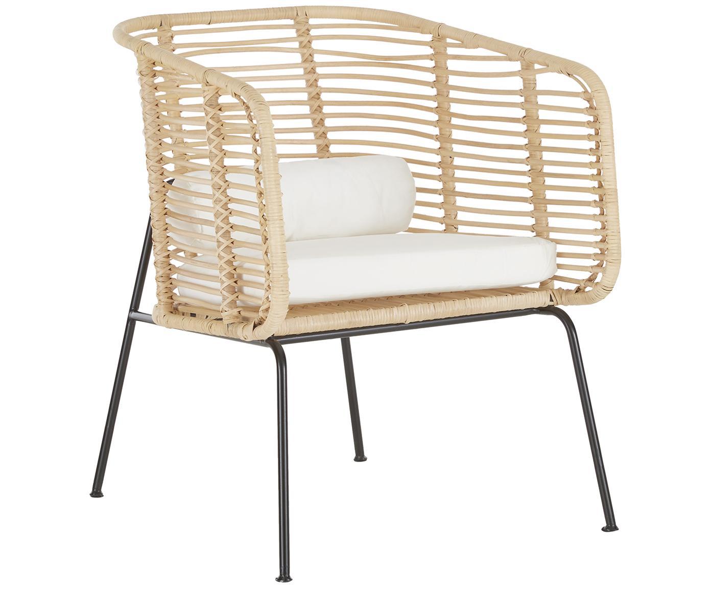 Rattan-Loungestuhl Merete, Sitzfläche: Rattan, Gestell: Metall, pulverbeschichtet, Sitzfläche: RattanGestell: Schwarz, mattKissenhüllen: Weiss, B 72 x T 74 cm