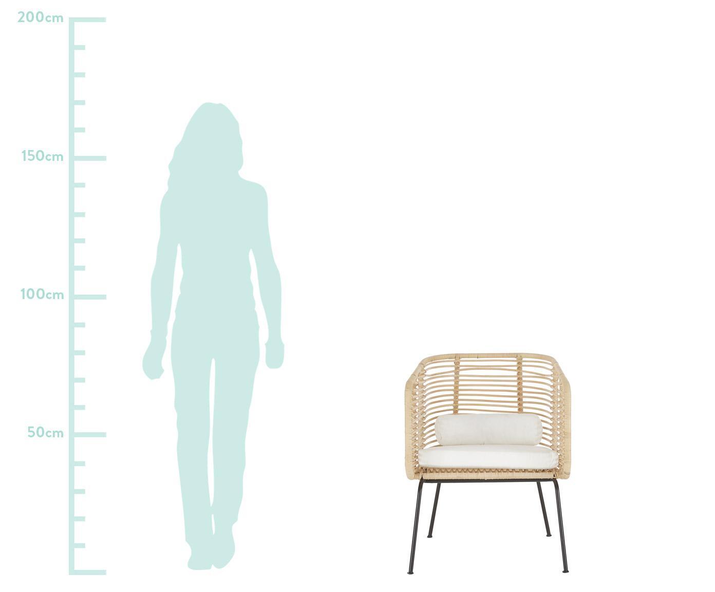 Krzesło z rattanu z podłokietnikami Merete, Stelaż: metal malowany proszkowo, Siedzisko: rattanStelaż: czarny, matowyPoszewki: biały, S 72 x G 74 cm