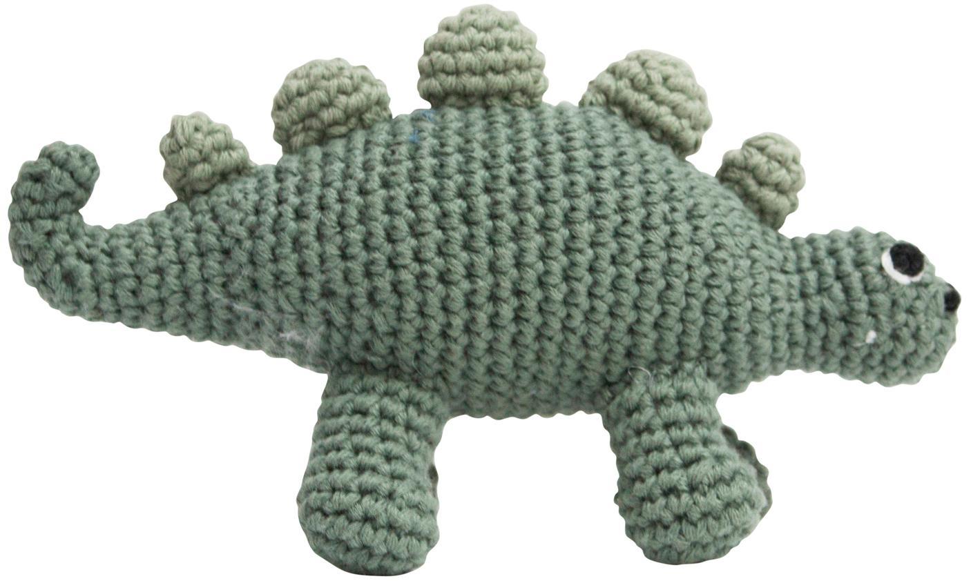 Peluche ad uncinetto Dinko, Rivestimento: cotone, Verde, Larg. 16 x Alt. 9 cm