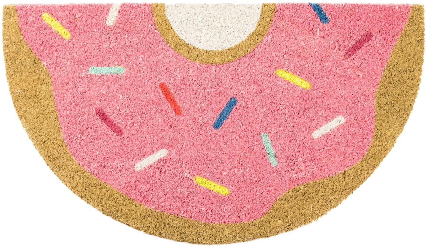 Fussmatte Donut, Oberseite: Kokosfaser, Unterseite: PVC, Rosa, Mehrfarbig, 40 x 70 cm