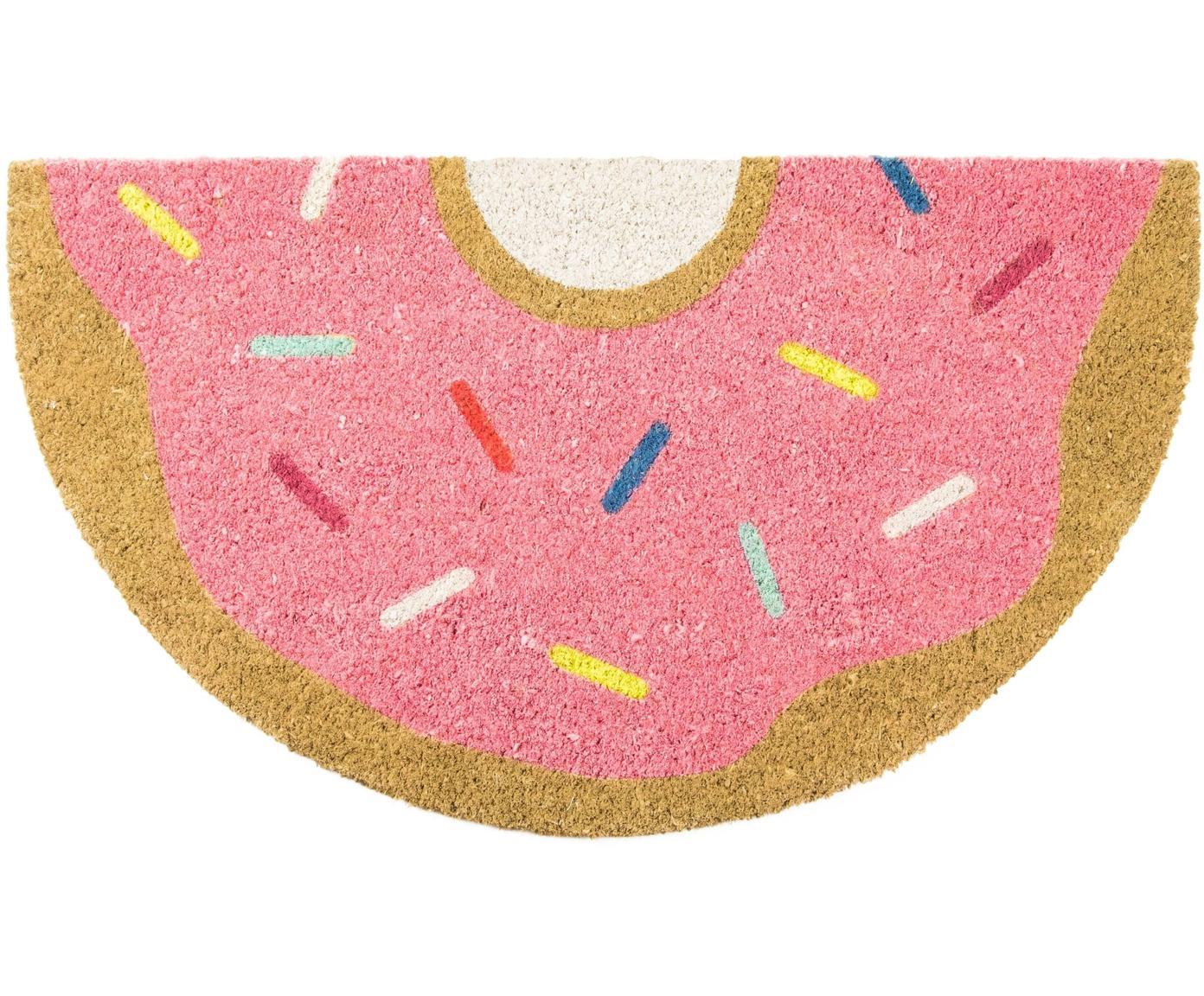 Fußmatte Donut, Oberseite: Kokosfaser, Unterseite: PVC, Rosa, Mehrfarbig, 40 x 70 cm
