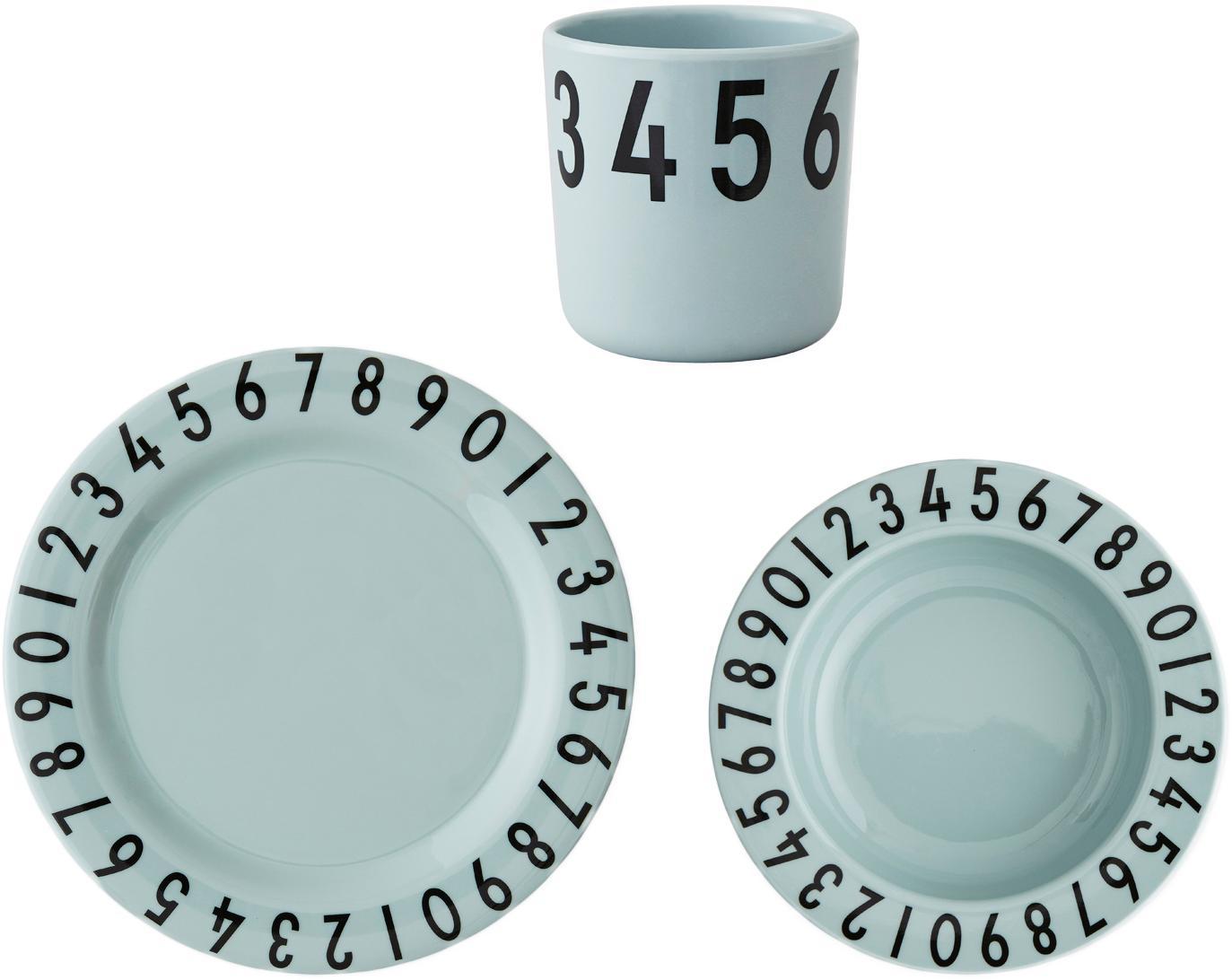 Set da colazione Numbers, 3 pz., Melamina, Blu, nero, Larg. 21 x Alt. 7 cm