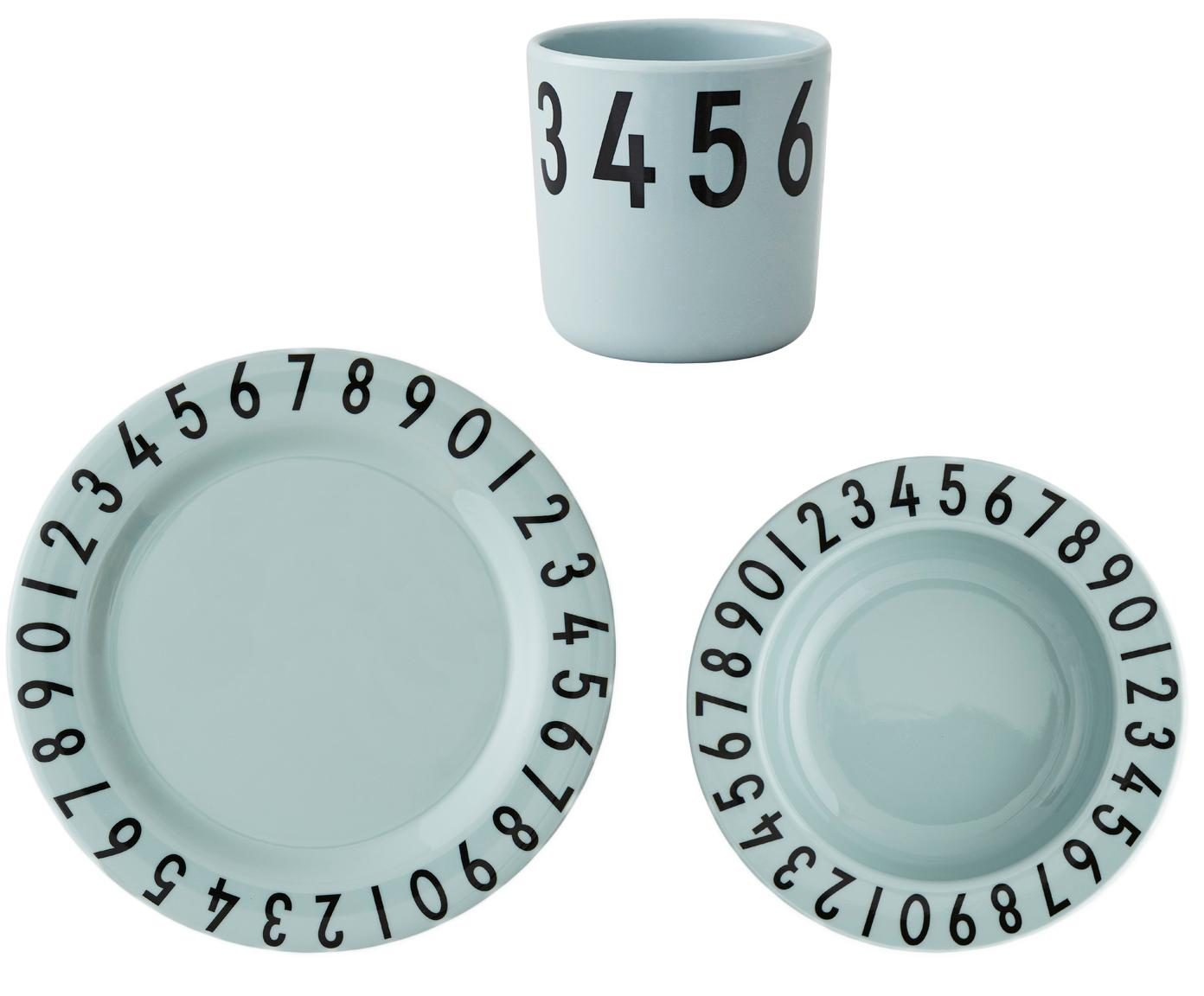 Frühstück-Set Numbers, 3-tlg, Melamin, Blau, Schwarz, 21 x 7 cm