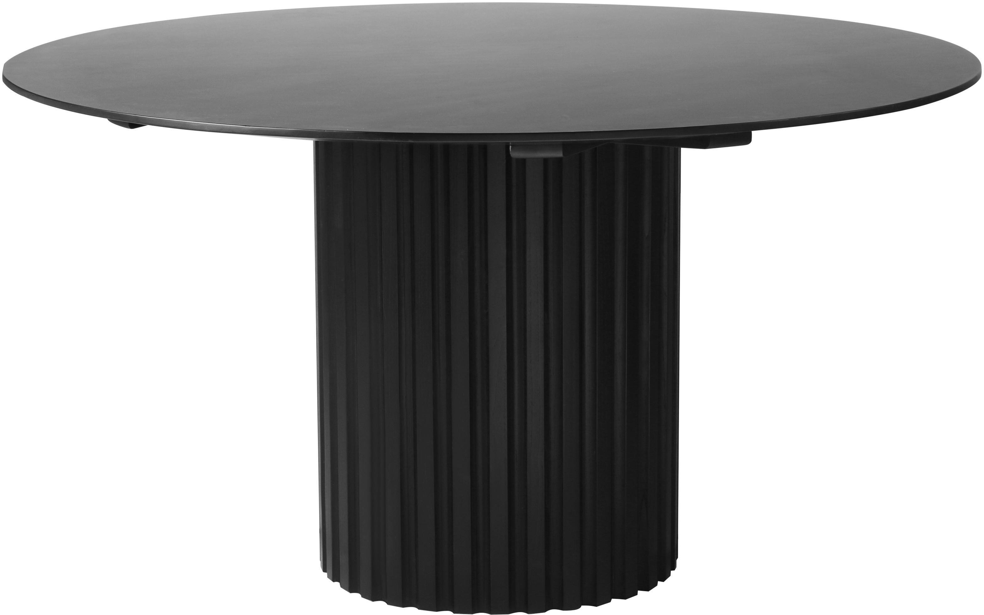 Ronde eettafel Pillar in zwart, Sungkai-hout, MDF, Zwart, Ø 140 x H 75 cm