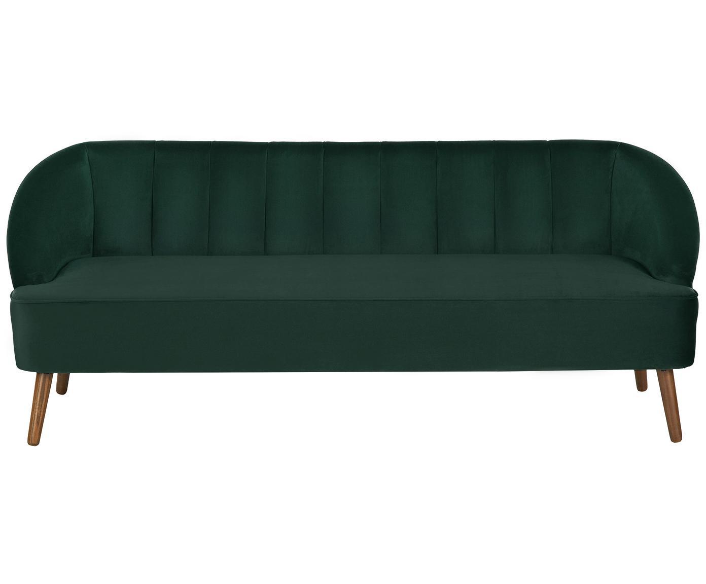 Samt-Sofa Cora (3-Sitzer), Bezug: Samt (Polyester) 28.000 S, Gestell: Kiefernholz, Füße: Kautschukholz, Samt Dunkelgrün, 192 x 74 cm