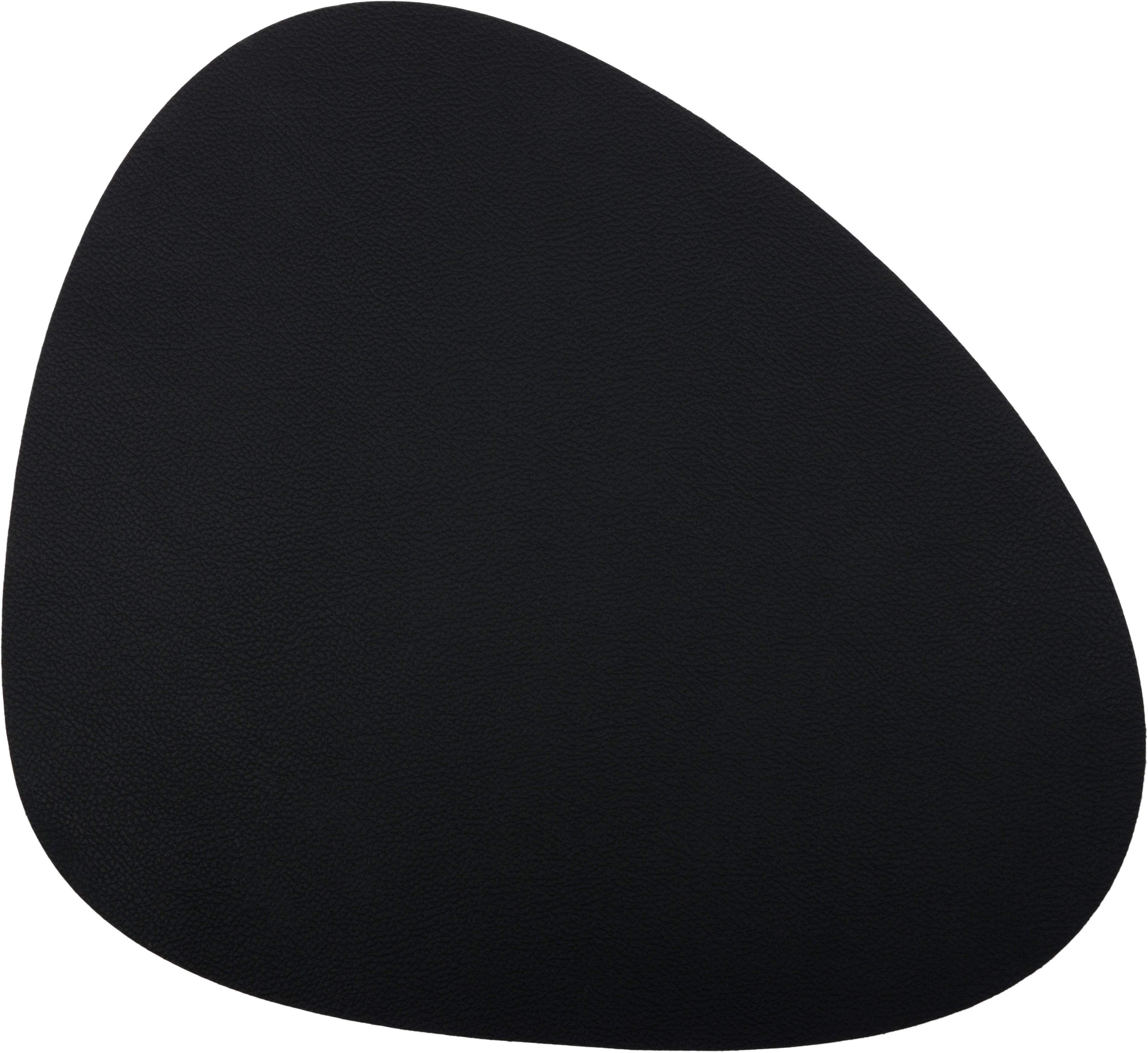 Leren placemats Leni, 2 stuks, Leer, Zwart, 33 x 40 cm