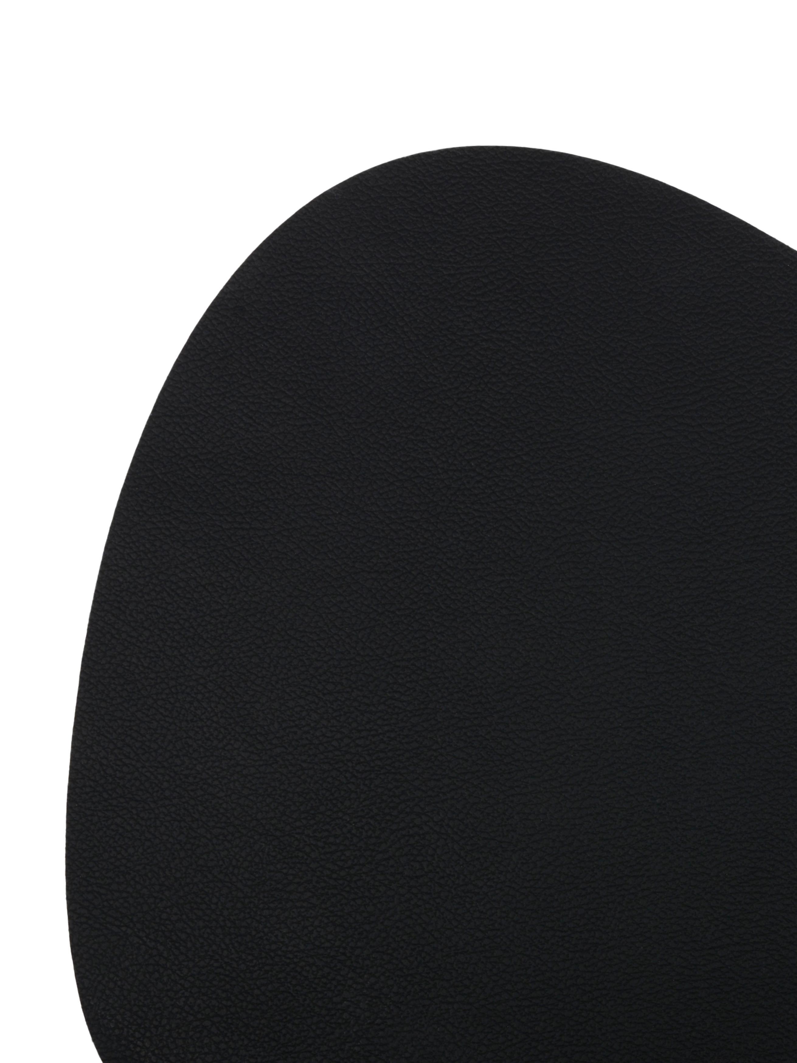 Ovale Kunstleder-Tischsets Leni, 2 Stück, Kunstleder, Schwarz, 33 x 40 cm